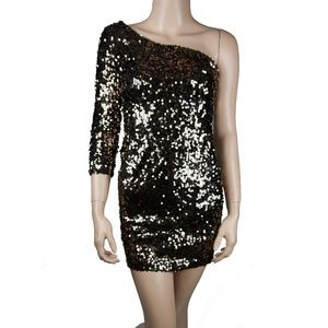 Sequin Black Shimmer One Shoulder Bodycon Club